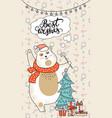 greeting card christmas card with bear christmas vector image