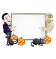 halloween sign with mummy and dracula vector image vector image