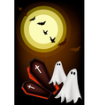Happy Halloween Ghosts and Coffin on Night Backgro vector image