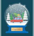 happy holidays snow globe with car and xmas tree vector image