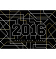 Happy new year abstract 2016 gold deco outline vector image vector image