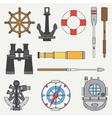 Line color marine icons set Nautical design vector image