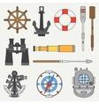 Line color marine icons set Nautical design vector image