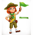 little scout with green flag comic character 3d vector image vector image