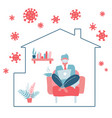 male character stay at home working to avoid vector image vector image
