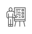 man with presentation teacher seminar line icon vector image