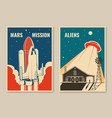 mars mission posters banners flyers vector image