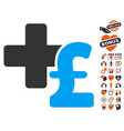 medical pound business icon with lovely bonus vector image vector image