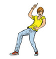 modern young red man dancing vector image