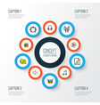 music icons colored line set with music level vector image vector image