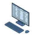 office desktop computer icon isometric style vector image vector image