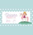 princess with unicorn invitation card vector image vector image