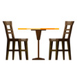 restaurant furniture wooden table and chair vector image vector image
