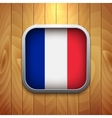 Rounded Square France Flag Icon on Wood Texture vector image vector image