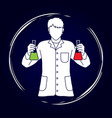 scientist with flask chemical graphic vector image vector image