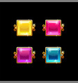 set colorful square buttons with golden border vector image vector image