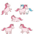 set cute unicorn fairy mystery character vector image