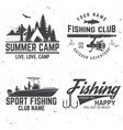 set fishing sport club bages vector image