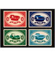 set of postage stamps with cars vector image vector image