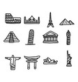 set of travel landmarks around the world icon set vector image vector image