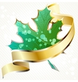Shiny green leaf with gold banner