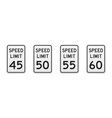 speed limit traffic signs from 45 to 60 mph vector image