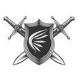 two sword with shield vector image vector image