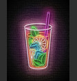 vintage glow signboard with ice tea in tall glass vector image vector image