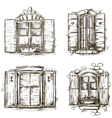 Vintage window hand drawn set of drawings vector image vector image