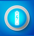 white battery icon isolated on blue background vector image