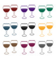 wine glasses icon in black style isolated on white vector image