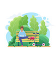 young woman reading in park flat vector image vector image