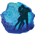 silhouette of a dancing couple vector image