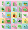 aloe vera plant logo icons set flat style vector image vector image
