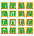 arch set icons set green vector image vector image