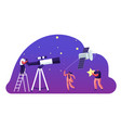 astronomy science character watching on space at vector image