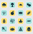 autumn icons set with timber cedar apple and vector image