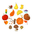 autumn items icons set cartoon style vector image