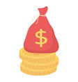 bag money on stack coins isolated icon white vector image