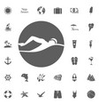 beach icons set elegant series vector image vector image