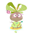 birthday girl bug with air baloon insects vector image vector image