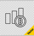 black line pie chart infographic bitcoin icon vector image vector image