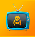 blue tv with skull and bones on a orange vector image vector image