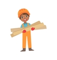 Boy In Working Gloves Holdig Boards Of Wood Kid vector image vector image
