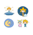 boys gnome in the costumes of the moon the sun vector image