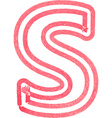 Capital letter S drawing with Red Marker vector image vector image
