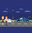 car repairs banner with people near broken car vector image vector image