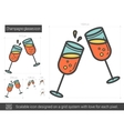 Champagne glasses line icon vector image vector image