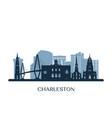charleston skyline monochrome silhouette vector image vector image