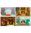 christmas holidays decorated interior of houses vector image